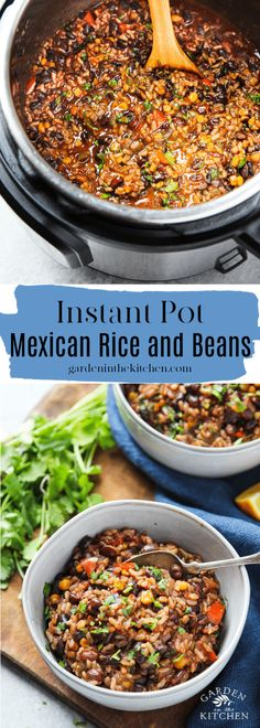 Instant Pot Mexican Rice and Beans made with dried black beans and brown rice This set and forget recipe comes together easily and effortlessly instantpotrecipes instantpotriceandbeans riceandbeans mexicanrecipes cincodemayo mexicanriceandbeans Black Bean Recipes, Brown Rice Recipes, Rice Recipes For Dinner, Instant Pot Dinner Recipes, Mexican Food Recipes, Brown Rice And Beans Recipe, Mexican Cooking, Vegetarian Recipes, Mexican Beans And Rice