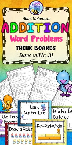"""Think Boards are a great, visual device for helping children to solve math word problems. They encourage the use of different strategies to solve problems.  The word problems in this package deal with addition sums up to 20. They are all """"Start Unknown"""" problems."""