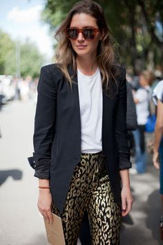 STREET STYLE SPRING 2013: MILAN FW - Statement pants appear more approachable with an easy white tee and black blazer.