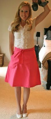 Pink skirt and ruffly blouse