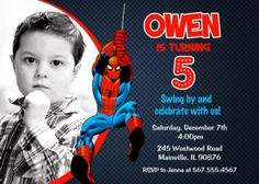 Spiderman Invitation Spiderman Birthday by PrettyPaperPixels: Spiderman Birthday Invitations, Birthday Party Invitations Free, Superhero Birthday Party, Birthday Invitation Templates, 3rd Birthday, Birthday Ideas, Invitation Design, Invites, Birthday Parties