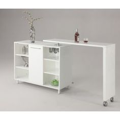 Shop Chintaly Imports Barclay Gloss White Bar with great price, The Classy Home Furniture has the best selection of to choose from Business Furniture, Table Furniture, Cool Furniture, Modern Furniture, Furniture Design, White Furniture, Furniture Stores, Contemporary Bar, Modern Bar