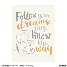 Dumbo | Follow Your Dreams Postcard Más