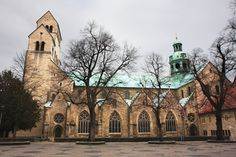 Hildesheim Cathedral  Hildesheim, Lower Saxony, Germany  Founded in 1010, the cathedral of Hildesheim contains many treasures of early medieval art, including bronze doors carved with biblical scenes and a bronze column showing the life of Christ.