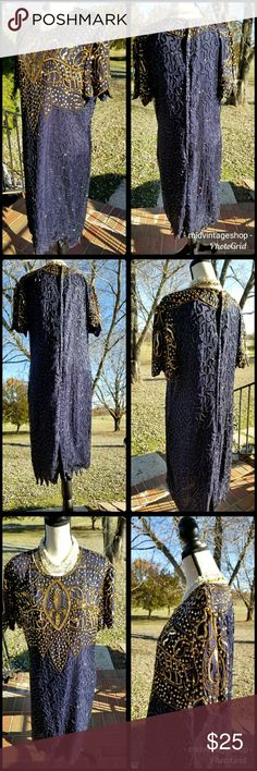 Vintage Sequins dress Navy and Gold..some missing sequins. See picture..can fit a Large...with small hips...measurements..pit to pit 22in..shoulder to shoulder 18.5in...length 42in...scalloped hem...hips 23in....laying flat.. Vintage Dresses