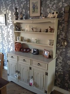 Old antique mahogany dresser reform e in General Finishes Linen, top sanded and given a lime wax