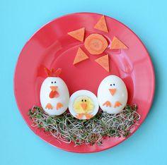 7 recetas con huevo originales y divertidas. Simpáticas recetas con huevo para niños y adultos: huevos duros decorados, nidos de huevo, muffins de huevo, crepes...