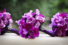 Purple Orchids + Roses - KAREN-TRAN.. Love the added rhinestone jewels on each one