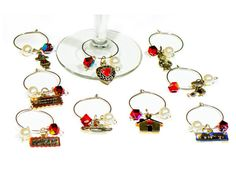 Wine charms drink glass markers tags set of by FriendlyWrenJewelry  COUPON CODE:  CYBERSTEAL FOR 25% OFF
