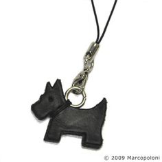 Dog cell phone charm - Scottish Terrier dog cell phone charm handmade with genuine Italian Leather