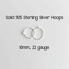 Handmade christmas gift Little Sterling Silver Hoop Earrings 10mm 22 Gauge * Click on the image for additional details.