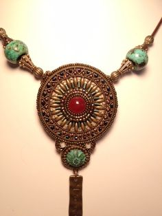 Filigree Bead Embroidery Necklace by VentureBeads on Etsy, $65.00
