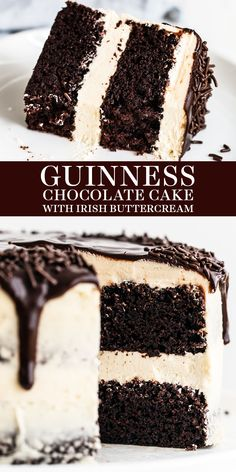 Guinness Chocolate Cake with Irish Buttercream features an easy, fudgy, and moist cocoa cake with Guinness beer and thick creamy, sweet Irish cream buttercream. The perfect homemade, from-sratch St. Patrick's Day or a birthday dessert recipe! #guinnesscake #chocolatecake #stpatricksdaydessert Smores Dessert, Bon Dessert, Dessert Dips, Dessert Simple, Dessert Tables, Brownie Desserts, Easy Desserts, Delicious Desserts, Irish Desserts