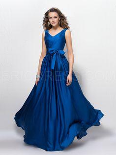 5d85ba401bf Courtlike A-line V-Neck Bowkont Zipper-Up Floor-Length Evening Dress