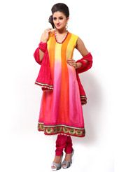 Orange, Yellow and Pink Faux Chiffon Churidar Kameez