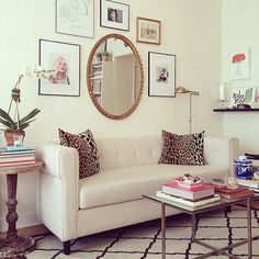 Mirror + rugs + coffee table