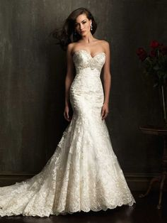 Allure 9051 Fit and Flare Sweetheart Neckline Lace over English Net - Fit and Flare, Strapless, Sweetheart