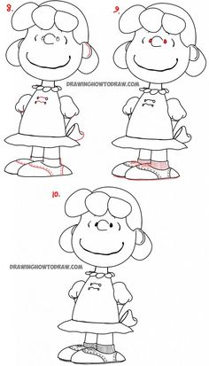 How to Draw Lucy from The Peanuts Movie Step by Step Tutorial - How to Draw Step by Step Drawing Tutorials Cute Easy Drawings, Art Drawings For Kids, Art Drawings Sketches, Disney Drawings, Simpsons Drawings, Cartoon Drawings, Scary Drawings, Snoopy Christmas Decorations, Snoopy Drawing