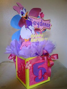 Daisy Duck Birthday Centerpiece Babyshower by CenterpieceMe Baby Girl Birthday, Mickey Mouse Birthday, Minnie Mouse Party, 2nd Birthday Parties, Birthday Ideas, Daisy Duck Party, Minnie Mouse Clubhouse, Party Themes, Party Ideas