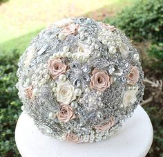 Blush Wedding Brooch Bouquet. Blush, Ivory and Silver Crystal Bridal Broach Bouquet. Deposit on a made to order Heirloom Broach Bouquet on Etsy, $79.95 CAD
