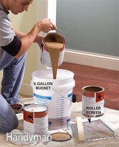 Mix several cans of paint in a large bucket for a consistent color throughout the room. Paint color may vary slightly from one can to the next. If you have to open a new can in the middle of a wall, the difference may be noticeable.
