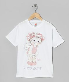 Take a look at this White Large 'Tutu Cute' Tee - Toddler & Girls by Dance World Bazaar on #zulily today!