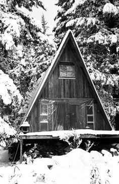 Rustic A-Frame Cabin (looks like there's some moisture or wind issues, given the plastic.must be another entrance on the back of the cabin). Photograph by Ruth Mountaingrove, 1972 A Frame Tent, A Frame Cabin, A Frame House, Future House, My House, Another A, Tiny House Bathroom, Tiny House Movement, Tiny Spaces