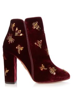 GABRIELLE'S AMAZING FANTASY CLOSET | Aquazzura Fauna insect-embellished velvet ankle boots