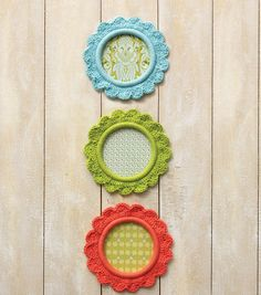 We love the eclectic look of these crochet frames // DIY Home Decor Ideas from Joann.com