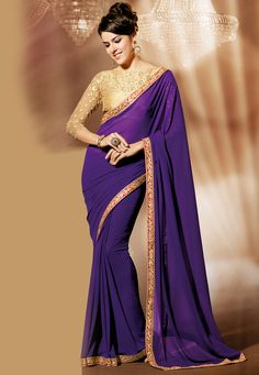 #Purple Faux #GeorgetteSaree @ $76.00