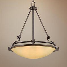 "Bronze 21"" Wide Amber Bowl Pendant Light"