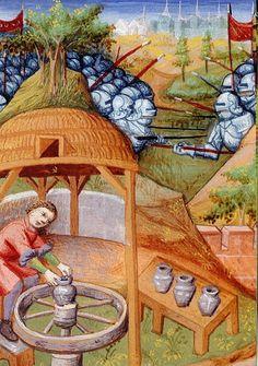 Un alfarero medieval. Ilustración de Boccace. Du cas des nobles hommes, BNF, M. fr. 235, Folio 158 verso En ARS CRETARIAE ARCHEOCERAMIQUE.