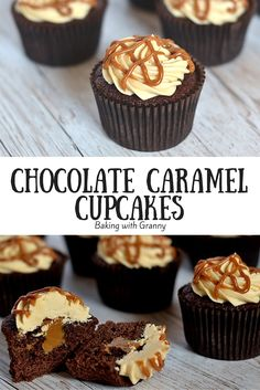 Chocolate Caramel Cupcakes - Baking with Granny. Delicious chocolate cupcakes with a Dulce De Leche core and topped with a caramel buttercream.