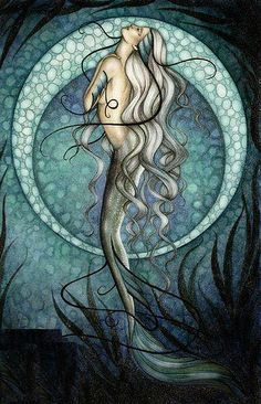Mermaid with moon