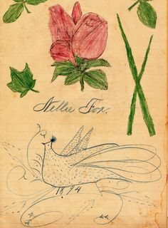 Calligraphic Drawing by Nellie Fox Folk Art 1894 Collection Jim Linderman (From the book Eccentric Folk Art Drawings)