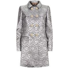Dolce & Gabbana Metallic Matelassé Coat ($2,995) ❤ liked on Polyvore featuring outerwear, coats, dolce gabbana coat and metallic coat