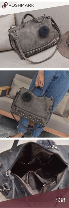 leather tote bag fall in love with our leather tote bag! large capacity, solid rivet messenger cross body.  comes in colors: grey, black, green (look at my other listings)   bundle 2+ items & save 10% off! Bags Crossbody Bags