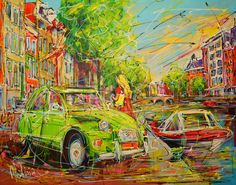 Online veilinghuis Catawiki: Mathias - Canal of Amsterdam, green Citroen and motorboat