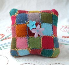 Plump Patchwork Pincushion, hand dyed wool with emery and hand embroidery