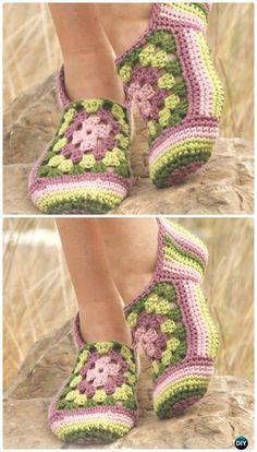 Crochet Granny Rose Slippers Free Pattern - Crochet Women Slippers Free Patterns