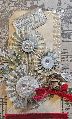 Its Raining Jelly Beans: Fun blingy rosette tags using Tim Holtz dies