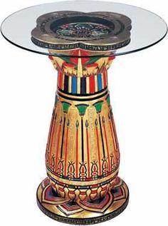 Egyptian Glass Top End Table