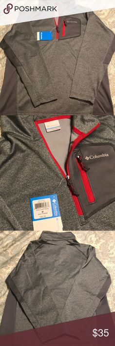 NWT! Men's Columbia zip up Grey with red accents, brand new! Gift that doesn't fit my husband 😪 Columbia Jackets & Coats