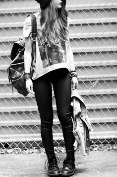 rock street inspiration lace boots beanie backpack rock and roll leather jeans