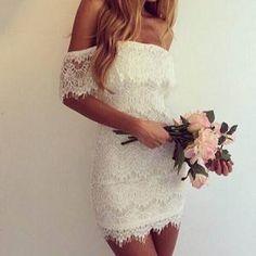 Low-Cut Off-Shoulder Lace Short Dress