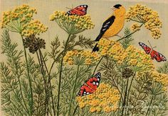 ♒ Enchanting Embroidery ♒ embroidered garden with bird