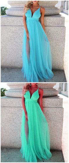 Deep V Neck Blue and Green Prom Dress, Sexy Prom Dresses, Long Evening Dress P0803 #slitpromdress #split #promdress #promdresses #hiprom #tulleprom #GraduationDress #2018 #PartyDress #blueprom
