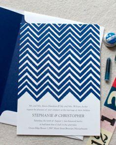 Blue chevron @Martha Stewart Weddings Magazine