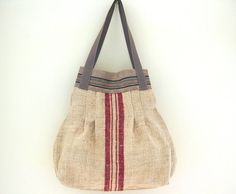 RebeccasAix Bag, Red Stripe hemp, Liberty Print Lining. Vintage Fabric. Handmade With Passion.