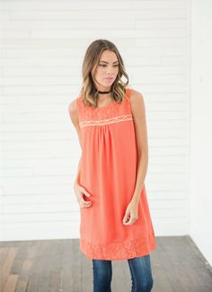 This Peachy Keen Lace Tunic is the absolute perfect piece for spring and summer! This tunic is lightweight and full of gorgeous red and orange tones is perfect for this spring. This tunic is the perfect length and can even be worn as a dress! || Bella Ella Boutique